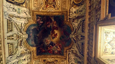 Magnificent painted ceilings in the Louvre museum in Paris. France. 4K Footage