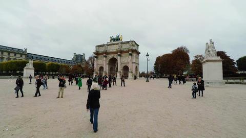 The Triumphal Arch (de Triomphe du Carrousel) in front of the Louvre museum, Par Footage