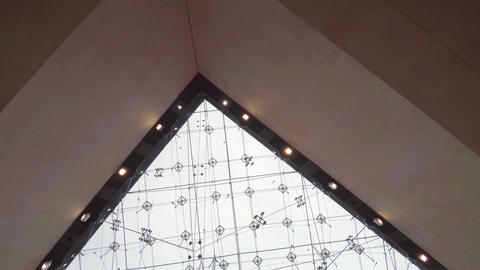 The Ceiling Glass Pyramid At The Louvre Museum In Paris. France. 4K stock footage