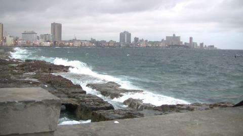 Waves on the coast, Havana, Cuba Footage