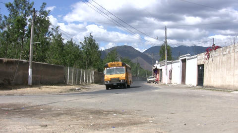 View Of Bus Moving On Road Footage