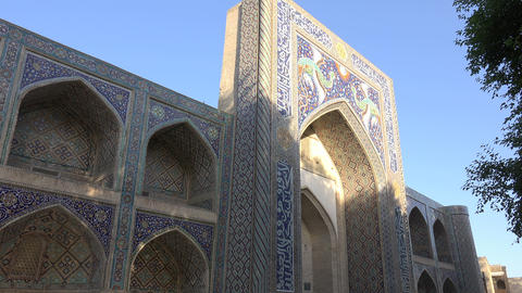 Entrance of Nadir Divan Beghi Madrasah, Bukhara, Uzbekistan Footage