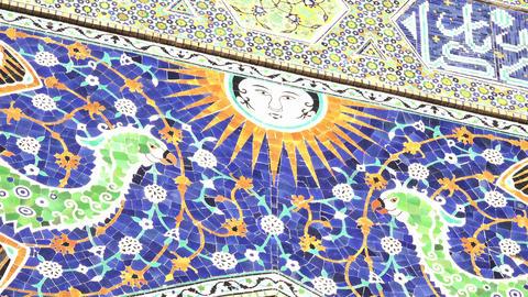 Mosaic Detail, Nadir Divan Beghi Madrasah, Bukhara, Uzbekistan stock footage