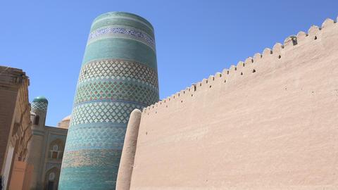 Kalta Minor Minaret, Itchan Kala, Khiva, Uzbekistan Footage