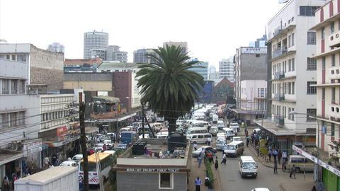 Busy street scene in Nairobi Footage