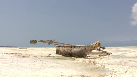 Dhow Boat On Beach Footage
