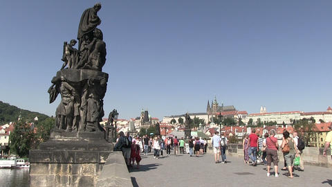 Tourists walking on Charles bridge Footage