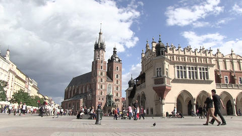 People at Town Square in Krakow, Poland Live Action