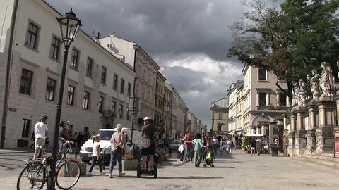 People Walking on Street, Krakow, Poland Footage