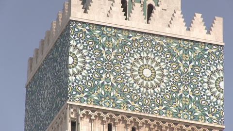 Low Angle View of Mosaic on Tower of Hassan Ii Mosque Footage
