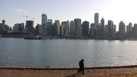 Vancouver Skyline, Stanley Park, Vancouver, Canada Footage