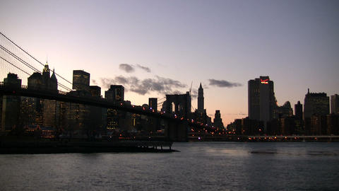 Brooklyn Bridge at night Footage