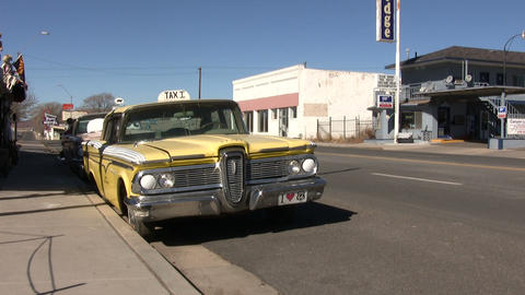 Vehicles parked at Roadside on Route 66 Footage