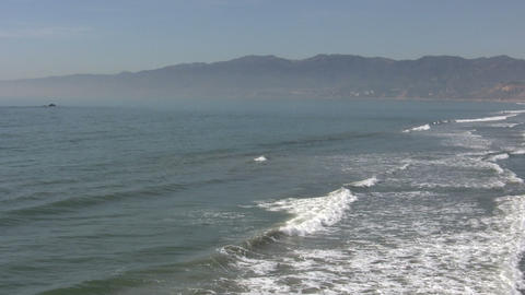 Waves In Pacific Ocean, Santa Monica State Beach Footage
