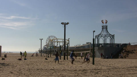 Tourists Playing Volleyball on Beach, Santa Monica State Beach Footage