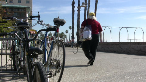 Bicycles On Beach, Santa Monica State Beach stock footage