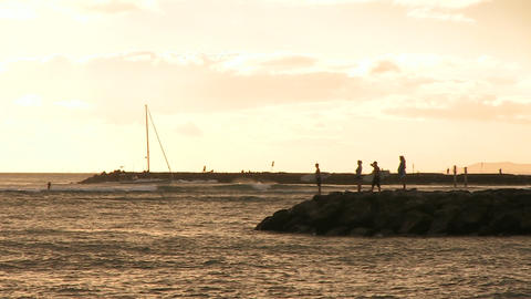People on Jetty in Pacific Ocean, Waikiki Footage
