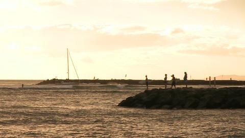 People on Jetty in Pacific Ocean, Waikiki Footage