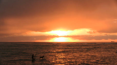 Silhouette of a Person Rowing Boat in Ocean, Waikiki Footage