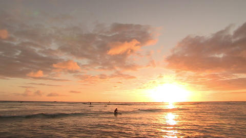 Tourists Surfing in Pacific Ocean, Waikiki Footage