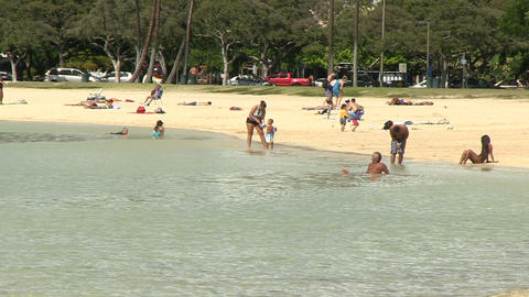 Tourists Enjoying on Beach, Ala Moana Footage