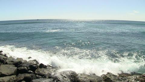 Waves Breaking on Coast, Ala Moana Footage