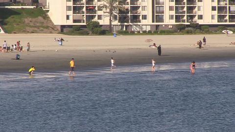 Tourists on Beach, Long Beach ビデオ