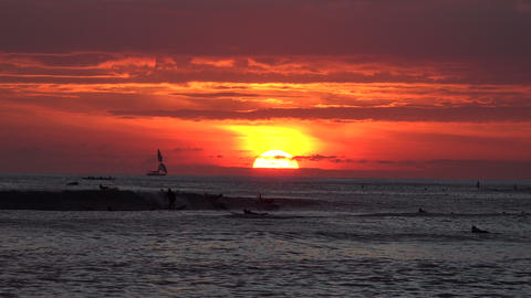 Pacific Ocean at Dusk, Waikiki Footage