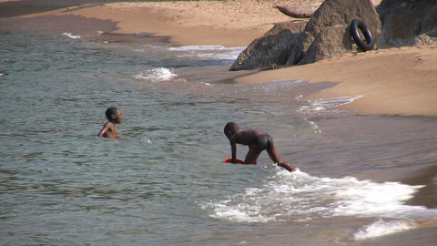 Children Swimming in a Lake, Nkhata Bay, Lake Malawi, Malawi Footage