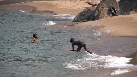 Children Swimming in a Lake, Nkhata Bay, Lake Malawi, Malawi Footage