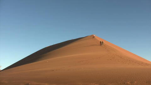 People Climbing Dunes in Namib Desert, Namibia Footage