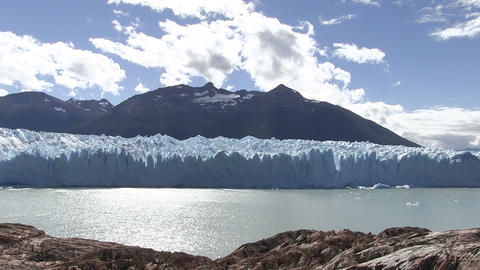 Perito Moreno Glacier in a Lake Against Cloudy Sky Footage