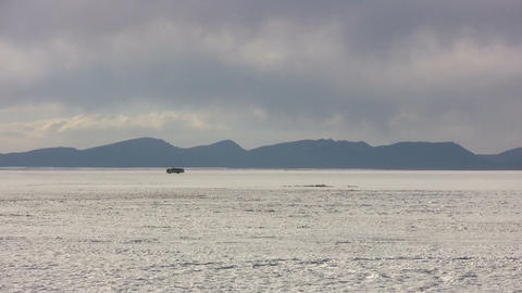 Car Moving In Salt Flats Footage