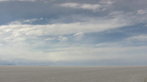 Salt Flats Against Cloudy Sky Footage