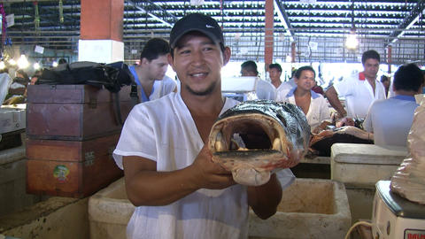 Fishmonger Showing Fish Footage