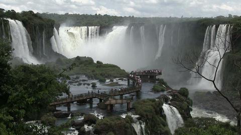 Tourists Walking on Bridge at Iguazu falls ライブ動画