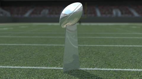 Football Trophy in Stadium Animation