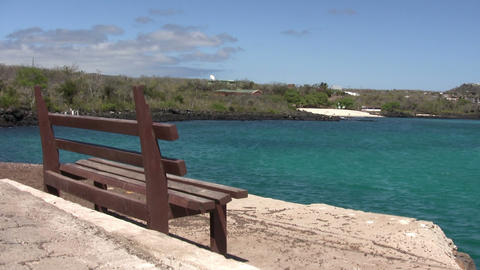 Empty Bench on Coast, San Cristobal Island 動画素材, ムービー映像素材