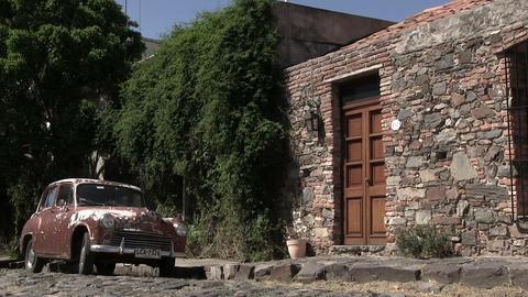 Vintage car with house, Colonia del Sacramento Footage