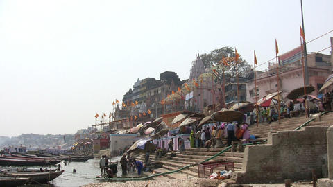 Pilgrims at Ganges River Footage