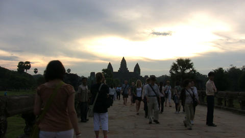 Tourists at Angkor Wat Temple Footage