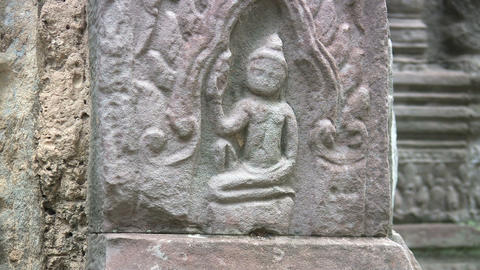 Bas-relief at Ta Prohm Footage