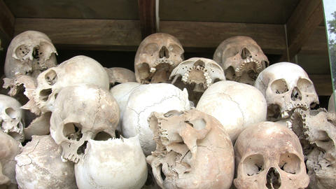 Human Skulls in Killing Fields Footage