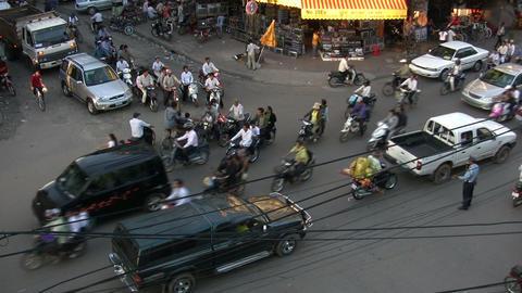 Traffic on street, Phnom Penh Footage