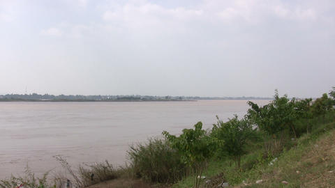 Mekong River, Savannakhet, Laos Footage