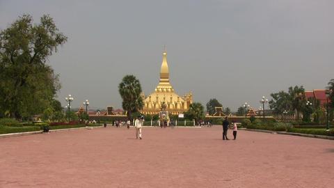 Pha That Luang, Vientiane, Laos Footage