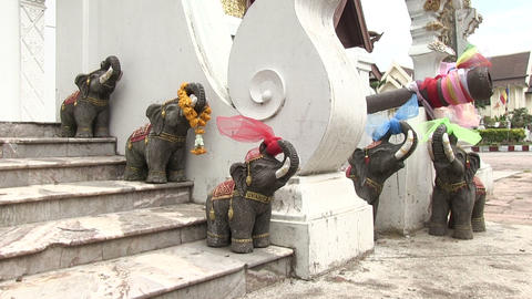 Elephant Statues, Chiang Mai, Thailand stock footage