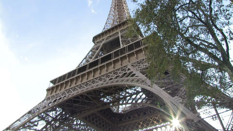 Tilt Up Shot Of Eiffel Tower stock footage