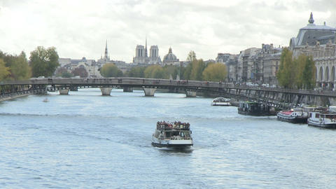 Passenger Boat In Seine River stock footage