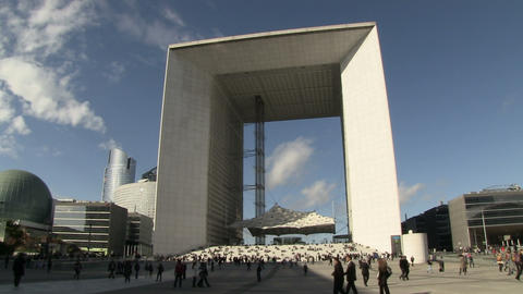 People At Monument, Grande Arche stock footage